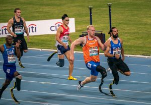 Ronald Hertog of the Netherlands competes in the Men's 200m T64 Series on day 2 during the DUBAI 2019 World Para Athletics World Championships in Dubai,November 8 2019